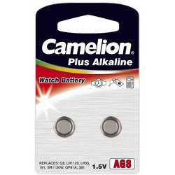 Camelion 2x AG8, LR55, GP91A, LR1120 1,5Volts alkaline button cells batteries