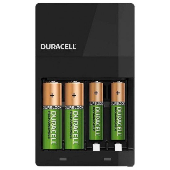 Duracell CEF14 charger with 2x AA and 2x AAA rechargeable batteries