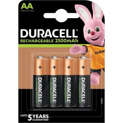 Duracell Rechargeable 4x AA 2500mAh 1,2Volts rechargeable batteries