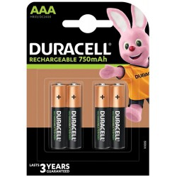 Duracell Rechargeable 4x AAA 750mAh 1,2Volts batteries