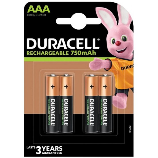 Duracell Rechargeable AAA 750mAh 1,2Volts batteries