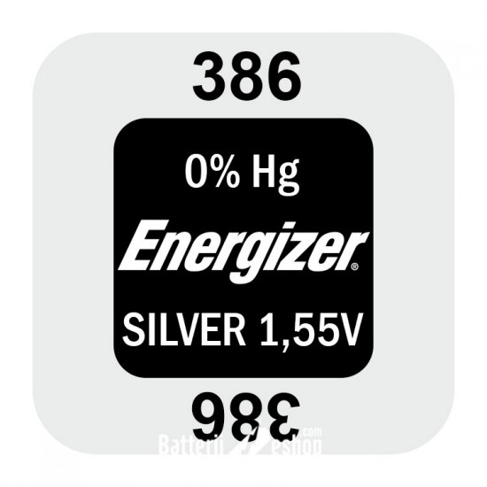 Energizer 386/301 - SR43SW - SR1142 1,55Volts silver oxide watch button cell battery