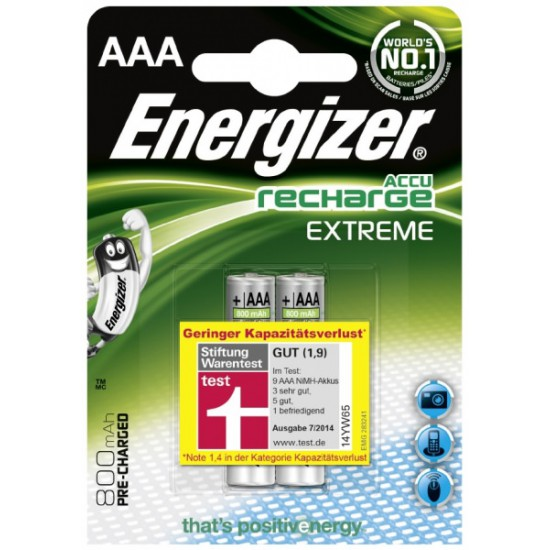 Energizer Recharge Extreme 2x AAA 800mAh 1,2Volts rechargeable batteries