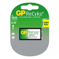 GP Recyko+ 9Volts (8,4V) 150mAh E-block - HR22 NiMH rechargeable batteries