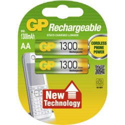 GP 2x AA HR6 1300mAh 1,2Volt NiMH Rechargeable batteries