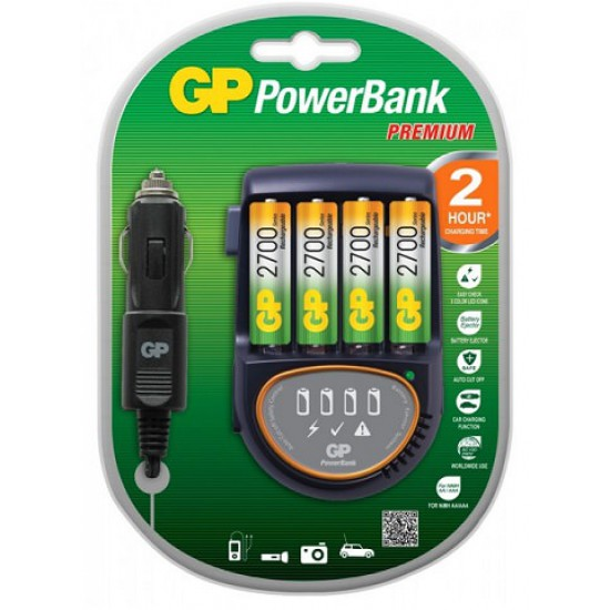 GP Powerbank Oplader H500 Incl. 4x AA 2700 mAh Chargers