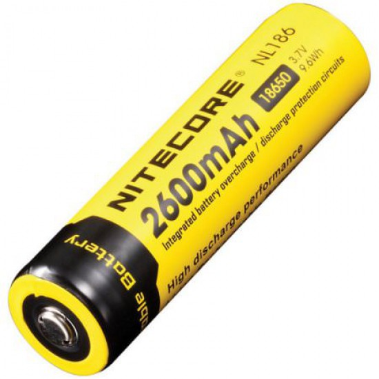 Nitecore NL1826 18650 2600mAh 3,7Volt 9.6Wh button top li-ion oplaadbare batterij - IC Protection Rechargeable batteries