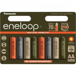 Panasonic Eneloop Tones Expedition 8x AA - HR6 2000mAh 1,2Volt NiMH rechargeable batteries