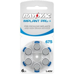 Rayovac Implant Pro+ 6x 675, Blue, PR44, Cochlear 1,45Volts hearing aid batteries