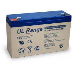 Ultracell UL12-6 6Volt 12Ah (20hr) lead acid accu battery VRLA 151x51x100mm