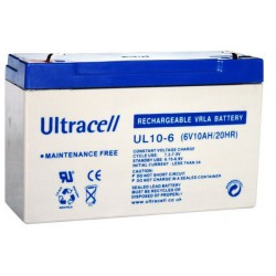 Ultracell UL10-6 6Volt 10Ah (20hr) loodaccu batterij VRLA 151x51x100mm