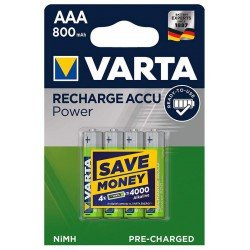 VARTA Recharge Accu Power 4x AAA - HR3 800mAh 1,2Volts NiMH rechargeable batteries