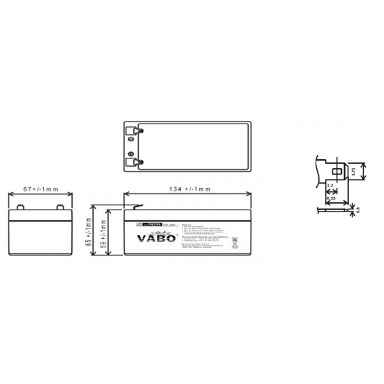 Vabo PM3-12 12V 3Ah (20hr) leadacid accu battery SLA 134x67x65mm