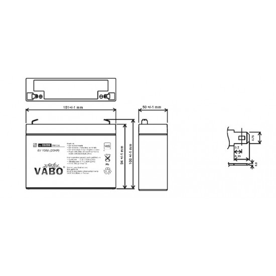 Vabo 6V 10Ah 151x50x98 mm Lead acid