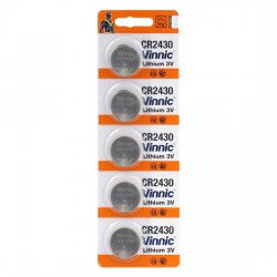 Vinnic 5x CR2430 - DL2430 - K-CR2430 - BR2430 - 5011LC 3Volt lithium button cell