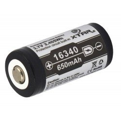 Xtar 16340 - RCR123A 650mAh 3,7Volt Li-ion rechargeable battery - IC Protection