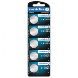 everActive 5x CR2025 - DL2025 - 5003LC 165mAh 3Volt lithium buttoncells