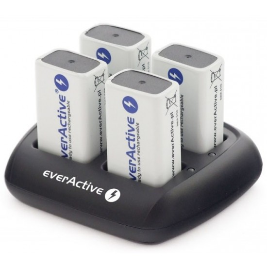 everActive NC-109 charger for 4x 9Volt NiMH rechargeable batteries